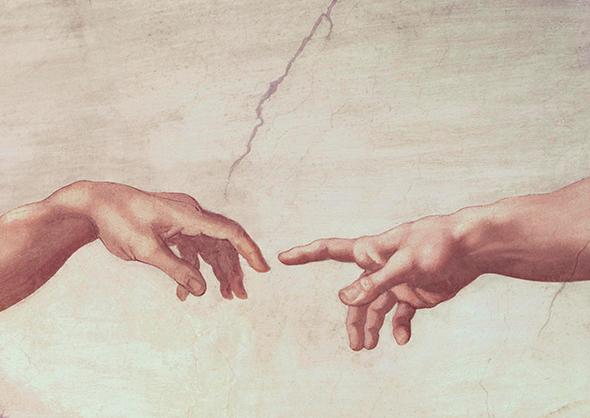 Фраґмент фрескиМікеланджело Буонарротіна стеліСикстинської капели«Створення Адама» (1512)